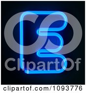 Clipart Blue Neon Capital Letter E Royalty Free CGI Illustration