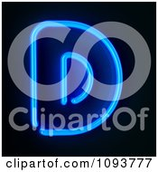 Clipart Blue Neon Capital Letter D Royalty Free CGI Illustration