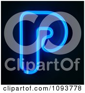 Clipart Blue Neon Capital Letter P Royalty Free CGI Illustration