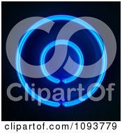Clipart Blue Neon Capital Letter O Royalty Free CGI Illustration