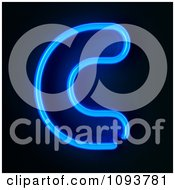Clipart Blue Neon Capital Letter C Royalty Free CGI Illustration