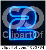 Clipart Blue Neon Number Two 2 Royalty Free CGI Illustration