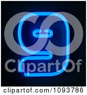 Clipart Blue Neon Number Nine 9 Royalty Free CGI Illustration