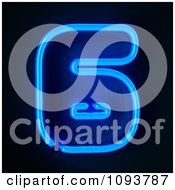 Clipart Blue Neon Number Six 6 Royalty Free CGI Illustration