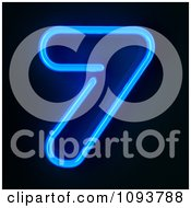 Clipart Blue Neon Number Seven 7 Royalty Free CGI Illustration