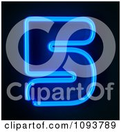 Clipart Blue Neon Number Five 5 Royalty Free CGI Illustration
