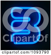 Clipart Blue Neon Number Three 3 Royalty Free CGI Illustration
