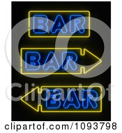 Clipart Neon Bar Signs With Arrows Royalty Free CGI Illustration