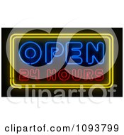 Clipart Neon Open 24 Hours Sign Royalty Free CGI Illustration by stockillustrations