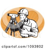 Clipart Retro Surveyor Using A Theodolite Over Pastel Orange Rays Royalty Free Vetor Illustration by patrimonio