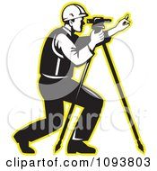 Clipart Retro Black And White Surveyor Using A Theodolite With A Yellow Outline Royalty Free Vetor Illustration by patrimonio