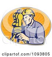 Clipart Retro Surveyor Using A Theodolite Over Orange Rays Royalty Free Vetor Illustration