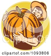 Clipart Retro Pumpkin Farmer Carrying A Big Gourd Royalty Free CGI Illustration