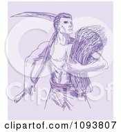Clipart Purple Sketched Wheat Farmer With A Scythe Royalty Free CGI Illustration