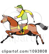 Clipart Male Jockey Riding A Race Horse Royalty Free Vetor Illustration by patrimonio