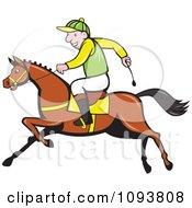Male Jockey Riding A Race Horse