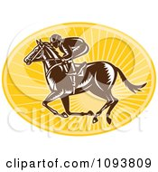 Clipart Retro Derby Jockey Racing A Horse Over Yellow Rays Royalty Free Vetor Illustration by patrimonio