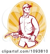 Clipart Retro Gas Station Attendant Jockey Holding A Nozzle Over Orange Rays Royalty Free Vetor Illustration