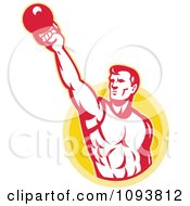 Clipart Retro Male Bodybuilder Lifting A Kettle Bell Royalty Free CGI Illustration