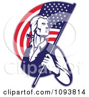 Clipart Retro Patriotic Man Carrying An American Flag Royalty Free CGI Illustration