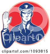 Clipart Retro Police Man Holding Up A Hand To Stop Royalty Free CGI Illustration by patrimonio