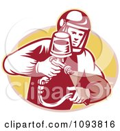 Retro Man Spraying Paint Or Pesticide
