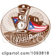 Clipart Retro Train With American Banners Royalty Free CGI Illustration