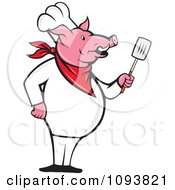 Clipart Pig Chef Standing Upright And Holding A Spatula Royalty Free Vetor Illustration