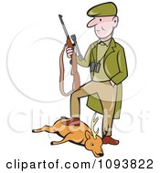 Clipart Male Hunter Holding His Rifle And Resting A Foot On His Deer Royalty Free Vetor Illustration