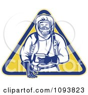 Clipart Retro Man In A Chemical Hazard Suit Royalty Free Vetor Illustration