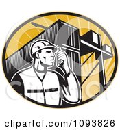 Clipart Retro Dock Worker Using A Walkie Talkie Royalty Free CGI Illustration by patrimonio