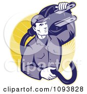Clipart Retro Electrician Carrying A Heavy Plug Royalty Free CGI Illustration