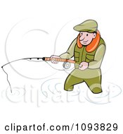 Clipart Wading Fisherman Holding A Pole Royalty Free Vetor Illustration