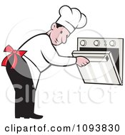 Clipart Male Chef Bending Over And Peeking In An Oven Royalty Free Vetor Illustration