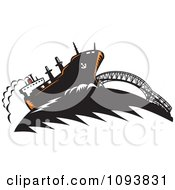 Clipart Freighter Ship And Bridge Royalty Free CGI Illustration by patrimonio