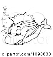 Outlined Fish And Bubbles