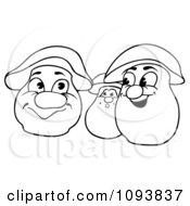 Clipart Outlined Talking Mushrooms Royalty Free Vector Illustration