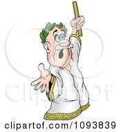 Clipart Caesar Holding Up A Wand Royalty Free Vector Illustration