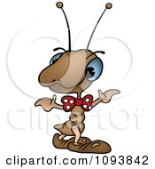 Clipart Brown Ant Shrugging Royalty Free Vector Illustration