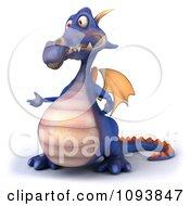 Clipart 3d Purple Dragon Presenting Royalty Free CGI Illustration
