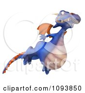 Clipart 3d Purple Dragon Flying 2 Royalty Free CGI Illustration
