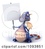 3d Purple Dragon Holding A Sign 1