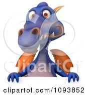 3d Purple Dragon Holding A Sign 2