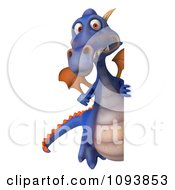 3d Purple Dragon Holding A Sign 3