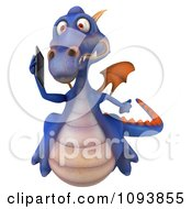 3d Purple Dragon Using A Cell Phone 3