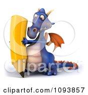 3d Purple Dragon Using A Pencil 2