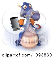 Clipart 3d Purple Dragon Using A Cell Phone 2 Royalty Free CGI Illustration by Julos