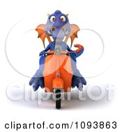 Clipart 3d Purple Dragon Riding A Scooter 2 Royalty Free CGI Illustration by Julos