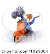 3d Purple Dragon Riding A Scooter 3