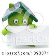 Clipart 3d Solar Powered Green House Holding A Sign 2 Royalty Free CGI Illustration